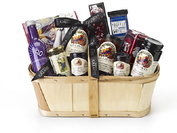 Gift Basket Containing Food And Promotional Items Giveaway