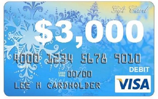 $3,000 Visa Card Giveaway