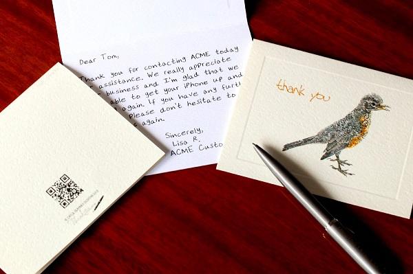 Free Sample of Thankster Handwritten Cards